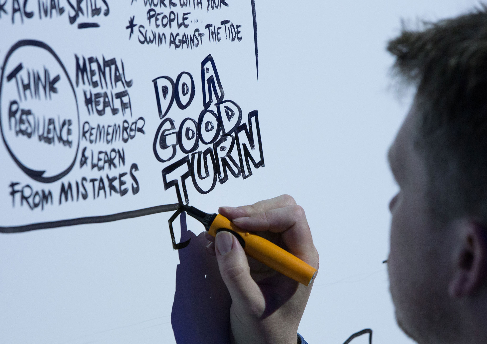 A Graphic Recording Artist drawing on a board