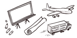 A drawing of a plane, board, lorry