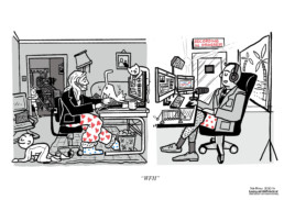 A cartoon depicting working from home